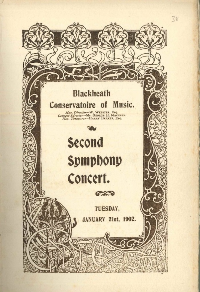 Concert Programme from 1902. The Blackheath Conservatoire of Music held concerts featuring guest musicians and students at the Blackheath Halls.